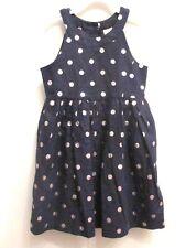 NEW Gymboree Dress Linen Sleeveless Dressy Navy Blue Silver Polka Dot Size 14