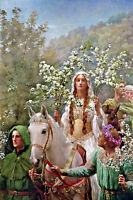 Large Queen Guinevere Maying King Arthur Painting Real Canvas Giclee Art Print