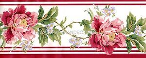 Waverly Floral Wallpaper Border Pink Red Vintage Rose Cabbage Flower Leaf Vine
