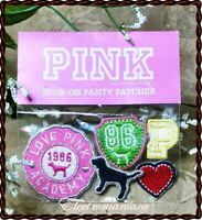 Victoria's Secret PINK 5 CUTE Iron-On Patches~PERSONALIZE your Face Mask! Embroi