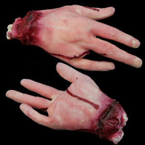 Halloween Party Decoration Fake Bloody Hand Props Scary Severed Broken Body Part