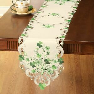 Beautifully Embroidered Irish Shamrock St. Patrick's Day Polyester Table Runner