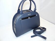 DKNY Heavy Nappa Leather Small Convertible Modern Moon Satchel / Crossbody Steel