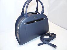 DKNY Heavy Nappa Leather Small Convertible Modern Moon Satchel / Crossbody Steel