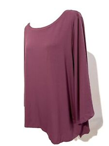 Eileen Fisher Woman Size 2X Purple Pullover Viscose Stretch 3/4 Sleeve NWT