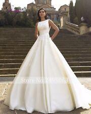 Custom Made White/Ivory Satin Ball Gown Wedding Dress Bridal Dress Gown V Neck