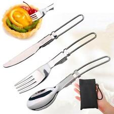 Folding Outdoor Cutlery Set Fork Bottle Opener Silver Stainless Steel Picnic CB