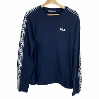 FILA Long Sleeve Logo Spellout Shirt Navy Blue White Retro Pullover Adult Sz XL