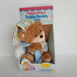 vtg 1985 Fisher Price baby toy Teddy Beddy Bear plush box stuffed animal Morgan