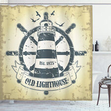 Nautical Shower Curtain Ship Helm Wheel Retro Print for Bathroom