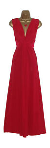 Long Red Grecian Knot Panel Maxi Evening Party Dress Sze 10-26 Prom-Ball