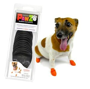 NEW Black Rubber Dog Boots, XSmall 12-Pack, Reusable Waterproof by PawZ