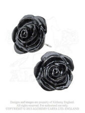 NEW Alchemy Gothic THE ROMANCE OF BLACK ROSE STUD EARRINGS E339