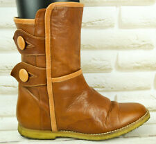 TOP MANIA Brown Leather Womens Mid-Calf Boots Slip On Shoes Size 5 UK 38 EU