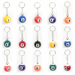 Billardkugel an Schlüsselanhänger 1 - 15 Eightball 8er Nineball 9er Massiv