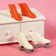Vintage Barbie 2 Pair Roller Skates White & Red Pak Rink n Court 1964 Japan EUC