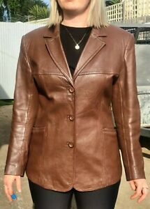 Ladies real leather blazer