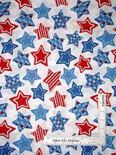 Patriotic Fabric Red Medium Blue and White Stars Toss by JoAnn Fabrics ~ YARD