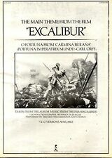 1/8/1981Pg23 Album Advert 15x10 Music From The Film Excalibur Various Ilps 9682