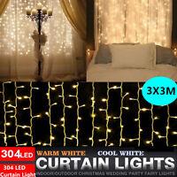 304LED Indoor/Outdoor Christmas String Fairy Wedding Curtain Lights Waterfall US