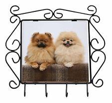 Pomeranian Dogs Wrought Iron Key Holder Hooks Christmas Gift, AD-PO91KH