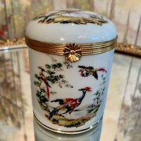 Vintage Limoges Hand Painted Pheasant Tall Round Box Gold Clasp