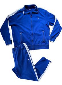 Polo Ralph Lauren Sweatsuit Performance Track Jacket Pants Blue XL 100% Cotton