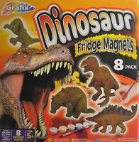 Dinosaur Mould & Paint Plaster Activity Kit Craft Art Set Make 8 Fridge Magnets