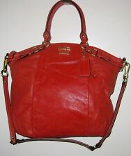 "COACH 18641 LEATHER MADISON LINDSEY SATCHEL PERSIMMON NEW 16"" 13"" 4"" 15"""