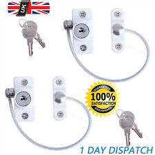2X White Window Door Restrictor Safety Locking UPVC Child Security Wire Cable UK