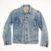 LEVIs Denim Trucker Jean Jacket Faded Medium Wash 80s 90s USA Made Grunge sz 34