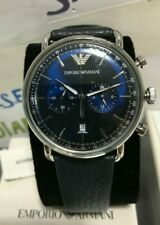 Emporio Armani Men's 43 x 49 mm Blue Aviator Black Leather Watch! AR11105 NEW!