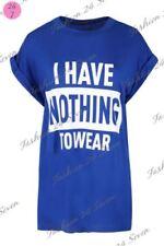 Maglie e camicie da donna maniche ad aletta blu con girocollo
