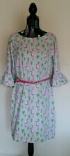 NEW Flamingo and cactus shift dress with ruffle sleeves, size 12