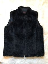 Ralph Lauren Black Faux Fur Vest, Size PP, Fur Winter Vest