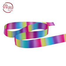"Lot 1 yards(22mm) 7/8"" colorful gradient two sides printing satin ribbon DIY J14"