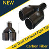 Real Carbon Fiber Car Dual Exhaust Pipe Tail Muffler Tip 63mm Inlet 89mm Outlet