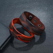 Punk Men's Wide Leather Bracelet Bangle Adjustable Wristband Cuff Wrap Jewelry