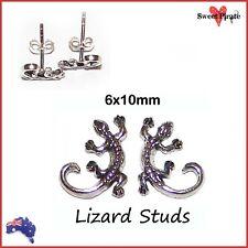 1 Pr Solid .925 Sterling Silver Gecko Lizard Stud Earrings Ladies Girls Unisex