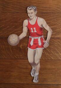 >orig. 1950's Cardboard Die-Cut *BASKETBALL PLAYER* wearing VINTAGE SNEAKERS