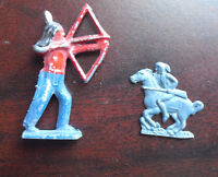 """Lot of 2 Vintage 1950s Metal Toy Indian Figurines 1 1/4 2 1/4"""" Tall"""