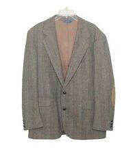 Pendleton Mens 46L Blue Brown Tweed Virgin Wool Suede Elbow Pads Sport Jacket