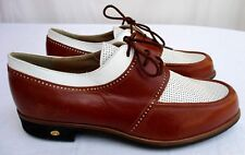 WALTER GENUIN..BROWN & WHITE..GOLF SHOES..HANDMADE IN ITALY..NWOB..NEW..sz 9