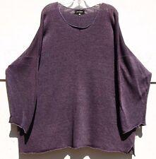 Eskandar PURPLE Handloomed Linen Knit Scoop Neck Sweater O/S $1095