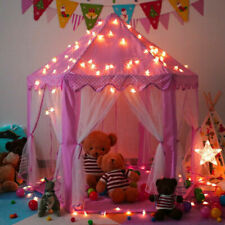 Portable Princess Castle Play Pink Tent w/ String Lights For Girls Festival Gift