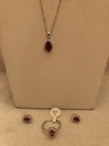 Red Garnet Cubic Zirconia 925 Sterling Silver Necklace Earrings Size 9 Ring Set