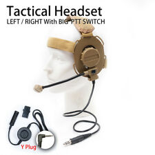 Y plug + Tactical Headset with Big PTT Switch for Yaesu 1pin Two-way Radios