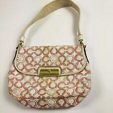 Coach Kristin Op Art Iridescent Sequin Bag Pink Cream Small Shoulder Handbag