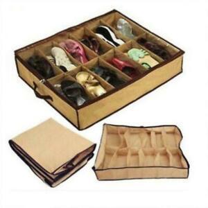 12 Pairs Shoes Storage Organizer Holder Container Under Bed Closet Bag Shoe Z8W5