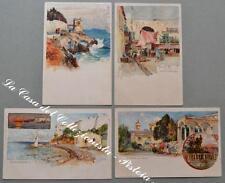 WIELANDT MANUEL. 4 cartoline d'epoca a colori con vedute di Genova, Nervi...